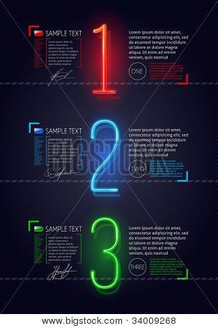 Vector design template with neon luminous numbers