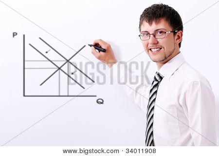 Smiling businessman in glasses drawing the supply and demand graph