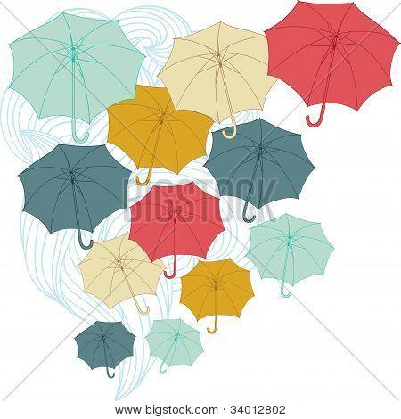 Background with collor umbrellas. Vector autumn illustration.