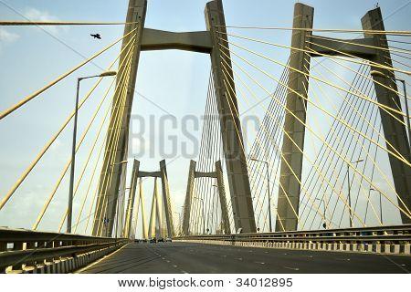 Cars Driving Over The Bandra-worli Sea Link Bridge