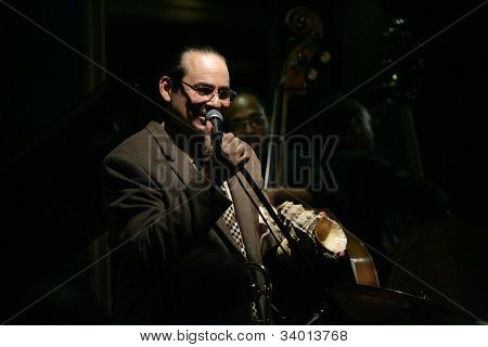 MADISON, NJ - JUNE 16: Steve Turre holds a conch seashell as he performs with his Quartet at Shanghai Jazz on June 16, 2012 in Madison, NJ.