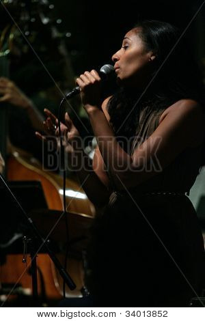 MADISON, NJ - JUNE 16: Andromeda Turre performs Funny Valentine with her father's band, Steve Turre Quartet, at Shanghai Jazz on June 16, 2012 in Madison, NJ.