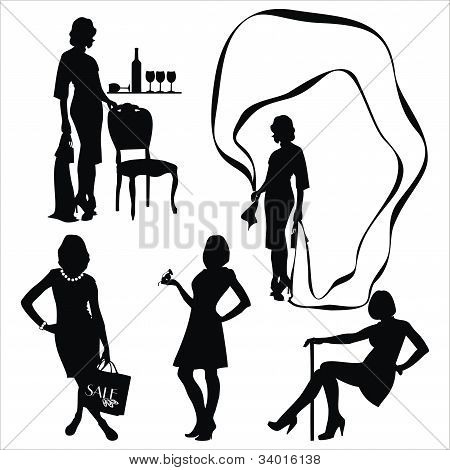 Vector set with young women silhouette