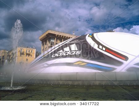 Kyiv, Ukraine - June 15, 2012: Huge Ball With Logo Of Uefa Euro 2012™ In The Fountains In The City C