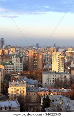 Skyline Of Moscow In Evening
