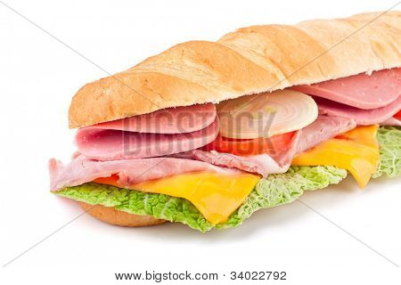half of long white wheat baguette sandwich