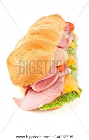 long white wheat baguette sandwich