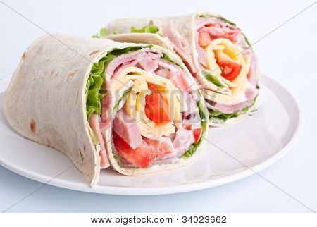 wrapped tortilla sandwich rolls cut in half