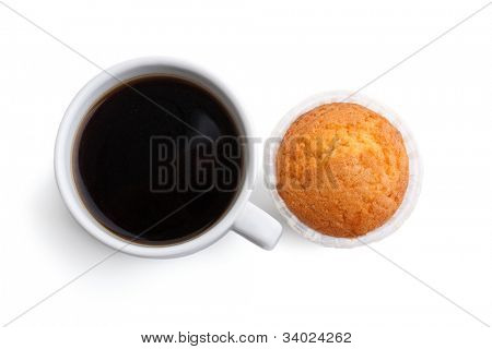 coffee and muffin on white background