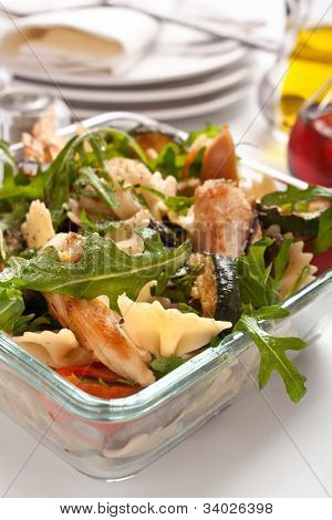 Serving of pasta salad