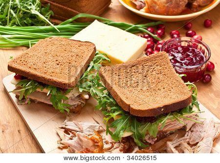 Whole wheat healthy turkey sandwich