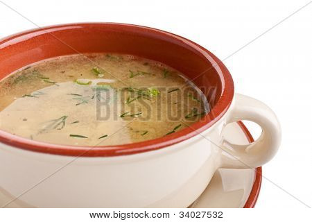 serving of lentil chicken soup