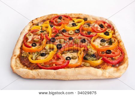 vegetable pizza on white background