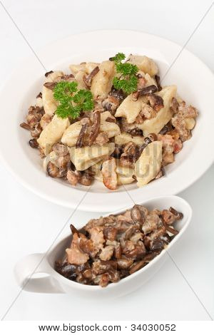 gnocchi with sausage and porcini mushrooms sauce