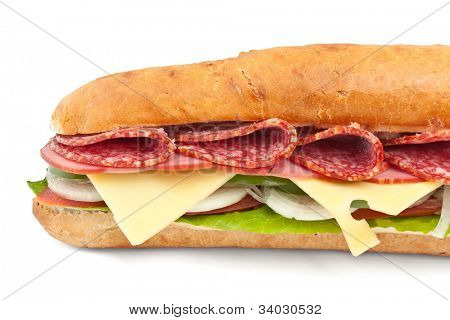 long baguette sandwich with lettuce, vegetables, salami and cheese on white background