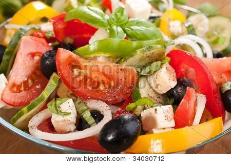 bowl of healthy greek salad close-up