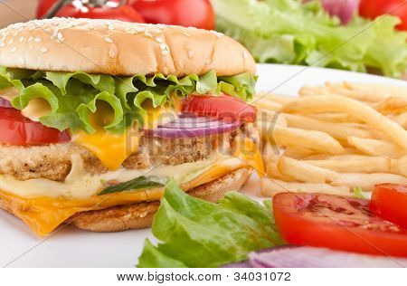 delicious chicken cheeseburger with melted cheddar cheese, french fries and ingredients