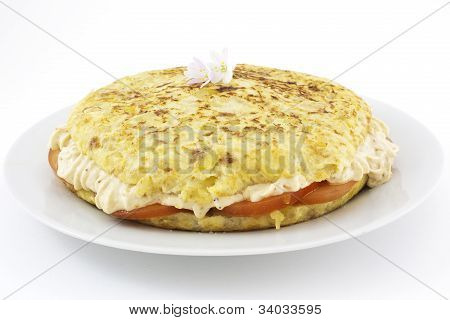 Spanish Omelet Stuffed With Rice Cream