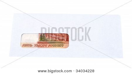 Russian Roubles In The Envelope Isolated On White Background.