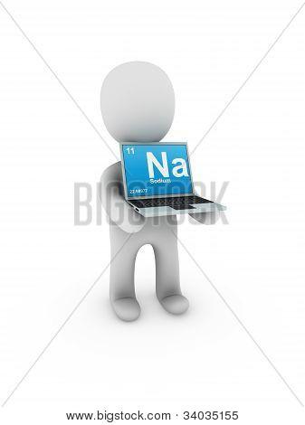 Sodium Symbol On Screen Laptop