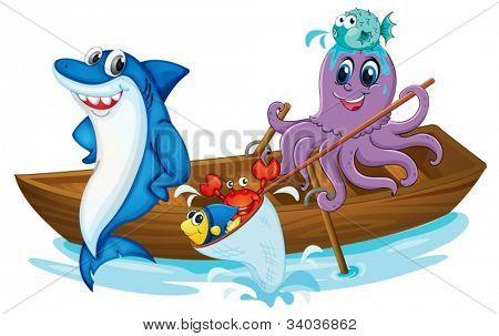 ilustração de um peixe e o barco na água