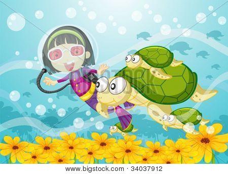 ilustração de uma menina na água e a tartaruga