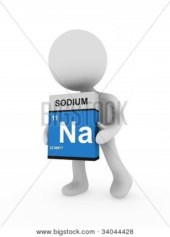 3D Man Carry A Sodium Box