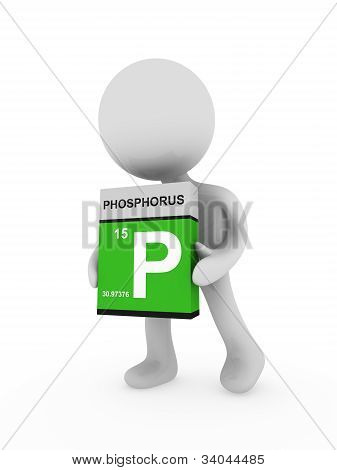 3D Man Carry A Phosphorus  Box
