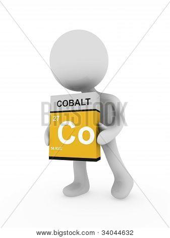 3D Man Carry A Cobalt Box