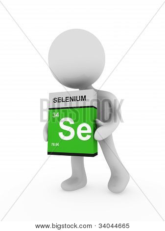 3D Man Carry A Selenium Box