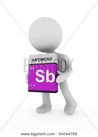 3D Man Carry A Antimony Box