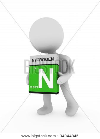 3D Man Carry A Nitrogen Box