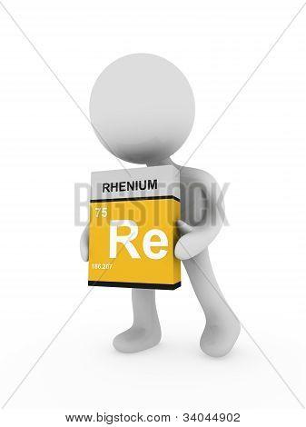 3D Man Carry A Rhenium Box