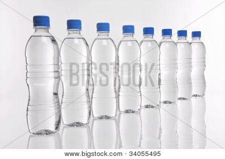 Water Bottles In A Line