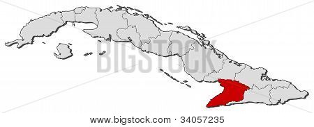 Map Of Cuba, Granma Highlighted