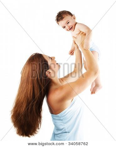 Mother playing with baby boy, happy family having fun indoor, cheerful sweet kid portrait, mom and child isolated on white background, healthy toddler, lifting throwing carrying holding up game