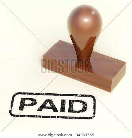 Paid Rubber Stamp Shows Payment Confirmation