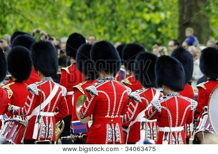 LONDON, UK - JUNE 16: Queen's guards during Trooping the Colour ceremony on the Mall and at Buckingham Palace, on June 16, 2012 in London.