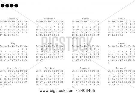 2008 Year Calendar