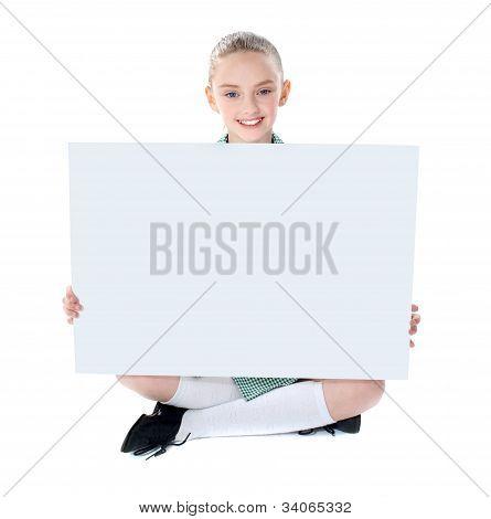 School Girl Showing Blank Billboard