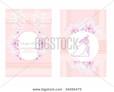 elegant wedding invitation with wedding couple set cards , vector illustration