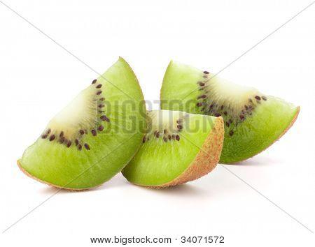 Three kiwi fruit sliced segments isolated on white background cutout