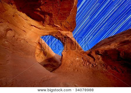 Star Trails Through an Arch in the Desert