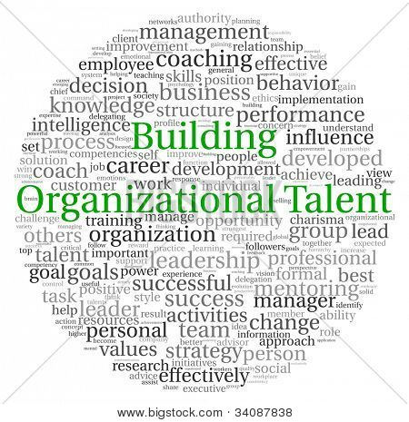 Building Organizational Talent concept in word tag cloud on white background