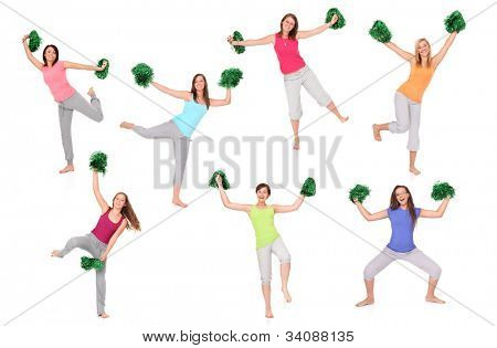 A set of seven pictures of young cheerleaders posing over white background