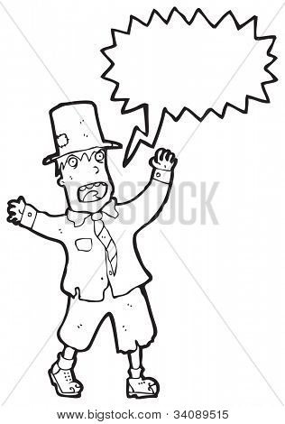 cartoon shouting crazy hobo