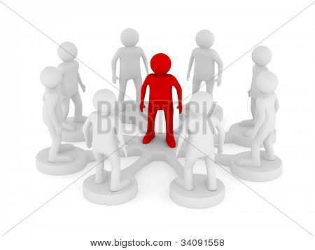 Conceptual image of teamwork. Isolated 3D on white