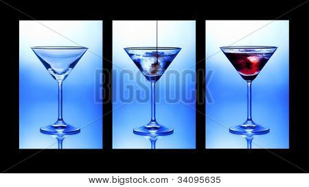 Cocktail triptych. A closeup of three glasses showing stages of pouring a cocktail.