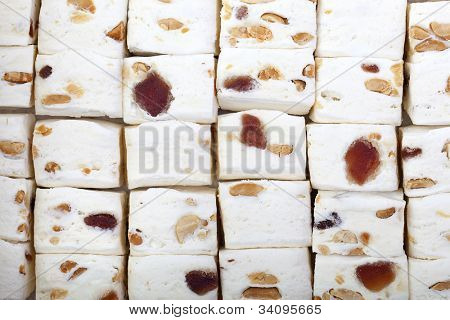 A background of fruit and nut nougat