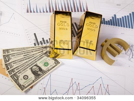 Office Concept, Gold bar